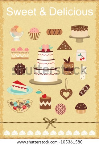 Vintage pastry related poster 6 - stock vector