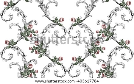 Vintage pattern in baroque style with small flowers and swirls on white  - stock vector