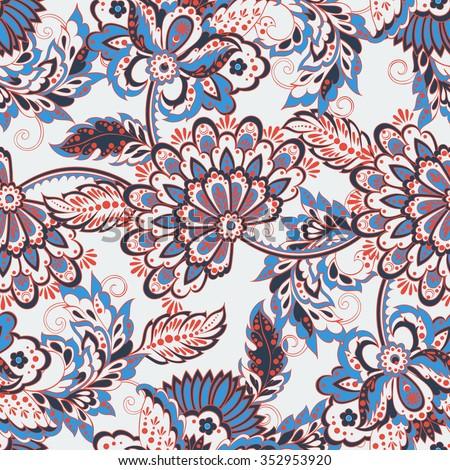 vintage pattern in indian batik style. floral vector background - stock vector
