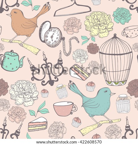 Vintage pattern in pastel colors with different old items. Vector hand drawn texture,pocket watch, bird,candlestick.