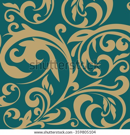 Vintage pattern on a green background.