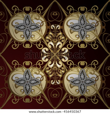 vintage pattern on dark red and brown gradient background with golden and white elements.