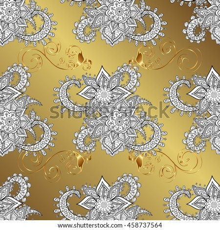 vintage pattern on yellow and orange gradient background with golden elements.