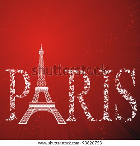 vintage pattern sign Paris with eiffel tower on abstract red strip background