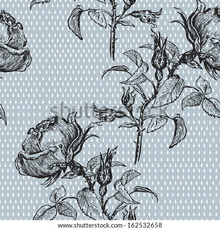 Vintage pattern with graphic roses.  Seamless retro pattern for fabric, paper and other printing and web projects.   - stock vector
