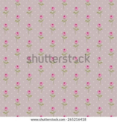 Vintage pattern with tiny roses in shabby chic style ideal as retro fabric print for clothes or interior design - stock vector