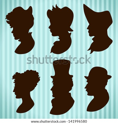 Vintage people hats and hair style silhouettes - stock vector