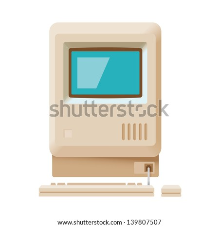 Vintage personal computer with keyboard and mouse isolated on white. Vector illustration.