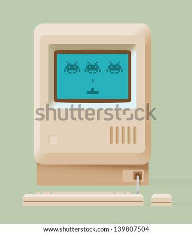 Vintage personal computer with retro video game on screen. Vector illustration