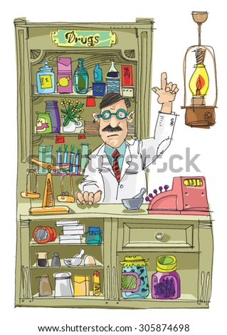 Vintage pharmacist - cartoon - stock vector