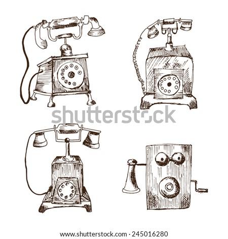 Vintage phones - stock vector