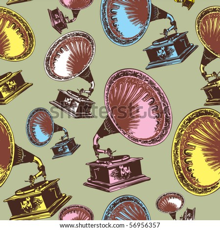 vintage phonograph seamless  background - stock vector