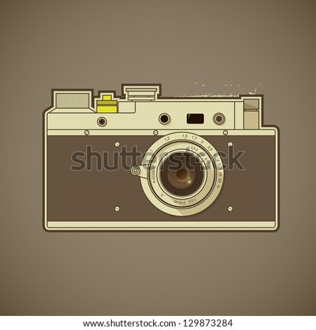 Vintage photo camera - stock vector