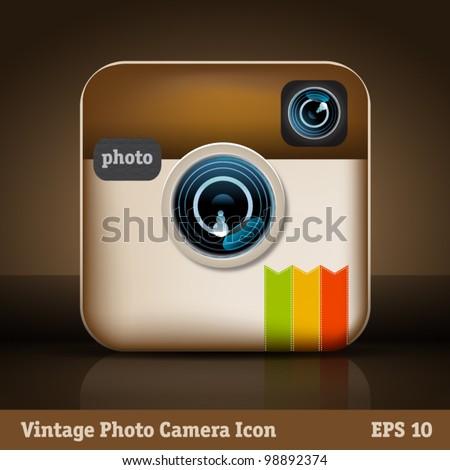 Vintage photo camera icon - stock vector