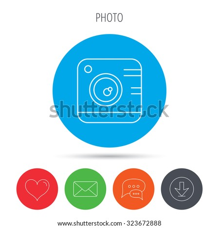 Vintage photo camera icon. Photography sign. Professional equipment and instagram concept symbol. Mail, download and speech bubble buttons. Like symbol. Vector