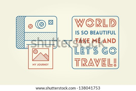 Vintage photo camera with nature photography saying World is so beautiful take me and let's go travel