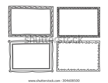 vintage photo frame in doodle style - stock vector