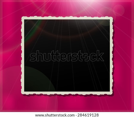 Vintage photo frame over a glossy purple background - stock vector