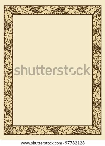 vintage photo frame with ornamental borders editable vector file - stock vector