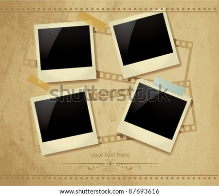 Vintage photo frames - stock vector