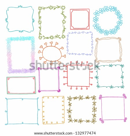 Vintage photo frames set, drawing doodle style, antigue ornamental and cute photo colored frames for decoration and design - stock vector