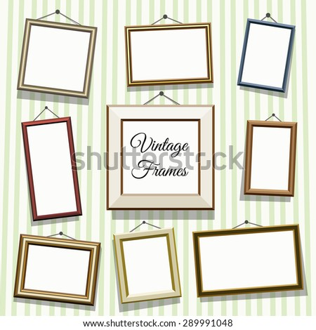 Vintage photo or picture frames set. Empty blank, art decoration, gallery illustration and exhibition - stock vector