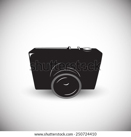 Vintage photography camera icon illustration in black style - stock vector