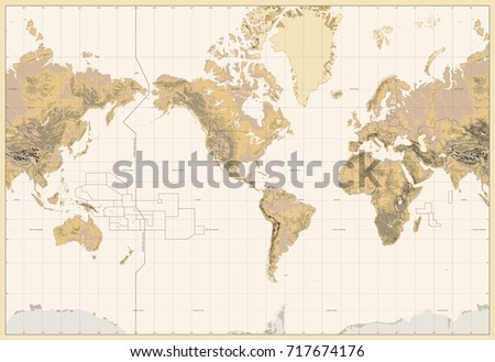 Vintage physical world map america centered colors brown stock vintage physical world map america centered colors of brown no bathymetry and text gumiabroncs