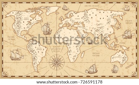 Antique stock images royalty free images vectors shutterstock vintage physical world map with rivers and mountains vector illustration retro vintage old world map gumiabroncs