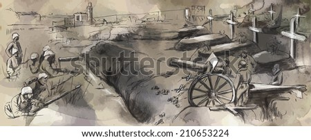 Vintage picture from the series: World between 1905-1949. The fighting in the trenches. An hand drawn vector illustration (converted). - stock vector