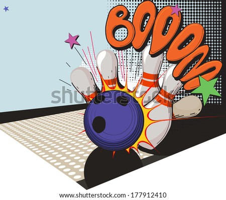 Vintage picture made in comic style bowling ball and bowling pins - stock vector