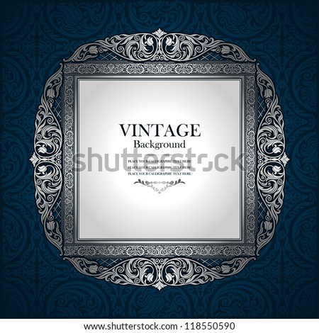 Vintage picture wall frame wall, damask background, antique, victorian silver ornament, baroque blue old paper, card, ornate cover page, label, floral luxury pattern template concept design image idea - stock vector