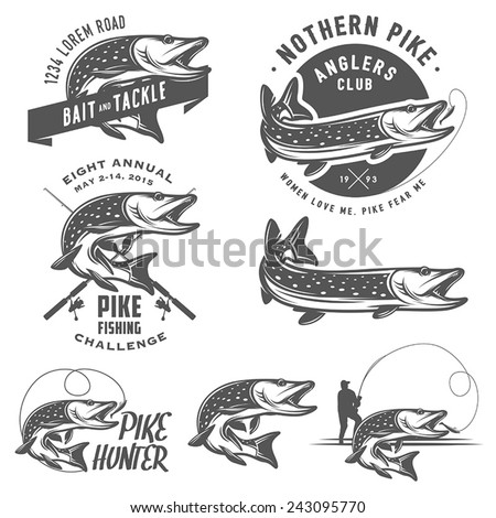 Vintage pike fishing emblems, labels and design elements - stock vector