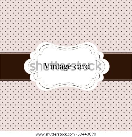 Vintage pink card, polka dot design - stock vector