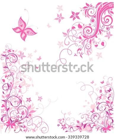 Vintage pink floral design - stock vector