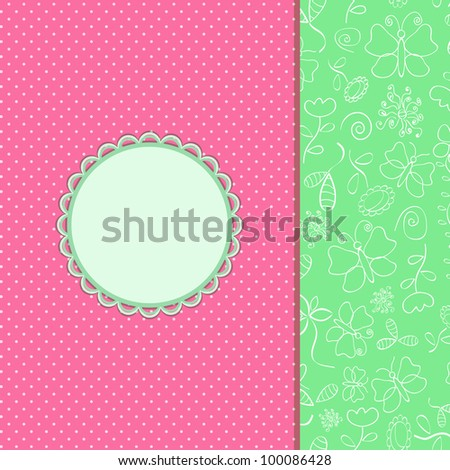 Vintage Pink Invitation Card with Round Vignette. Vector Illustration - stock vector