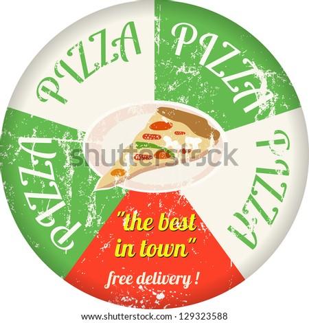 vintage pizza service enamel sign,vector - stock vector