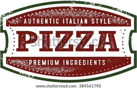Vintage Pizza Sign Stamp - stock vector