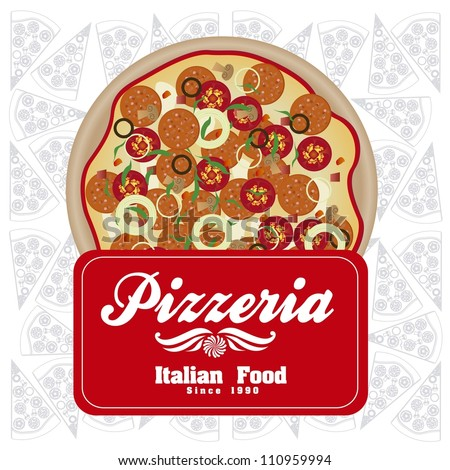 Download Image Vintage Pizzeria Label Illustrations With Pizza In Warm