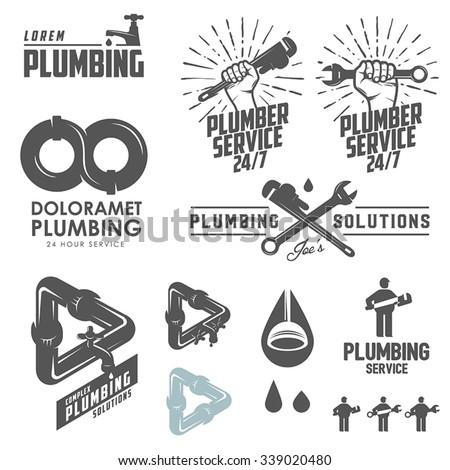 Vintage plumbing emblems, labels and design elements - stock vector