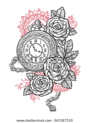 Vintage pocket watch with a pattern in roses and ornaments - stock vector