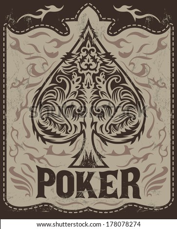 Vintage Poker badge - western style - vector poster - Grunge effects can be easily removed - stock vector