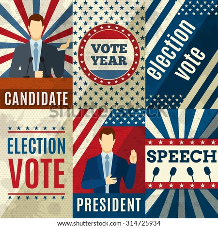 Vintage politics mini posters set with election candidates figures isolated vector illustration - stock vector