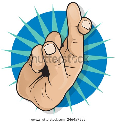 Vintage Pop Art Fingers Crossed Sign. Great illustration of Pop Art Comic Book Style Fingers Crossed Hand Sign gesturing for Good luck and Fortune.