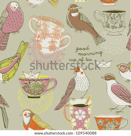 vintage porcelain cups and birds - stock vector