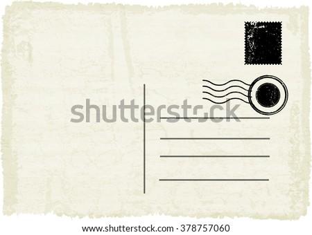 Vintage Post Card. Vector Post Card . Post Card illustration. Retro Post Card . Old Post Card . Blank Post Card . Empty Post Card . Beige Post Card . Grunge Post Card . Textured Post Card .  - stock vector