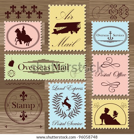 Vintage postage stamps and elements illustration collection background vector - stock vector