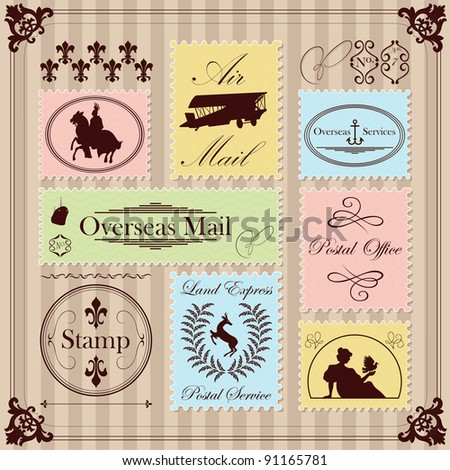 Vintage postage stamps illustration collection background vector - stock vector