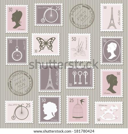 Vintage postage stamps set on stripped grunge paper. Vector illustration. Can be used for scrapbook, invitation cards, collage design. - stock vector