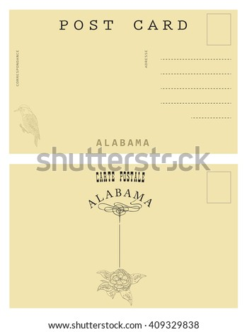 Vintage postal card from Alabama, USA. decor authentic symbols of the State of Alabama.